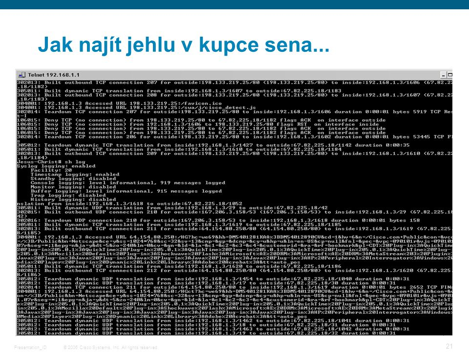 © 2006 Cisco Systems, Inc. All rights reserved.Presentation_ID 21 Jak najít jehlu v kupce sena...