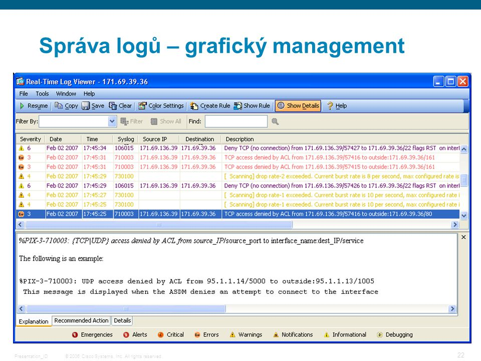 © 2006 Cisco Systems, Inc. All rights reserved.Presentation_ID 22 Správa logů – grafický management
