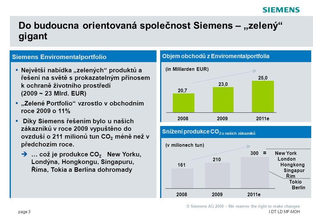 """page 3I DT LD MF-MOH © Siemens AG 2008 – We reserve the right to make changes Siemens Enviromentalportfolio  Největší nabídka """"zelených produktů a řešení na světě s prokazatelným přínosem k ochraně životního prostředí (2009 ~ 23 Mlrd."""