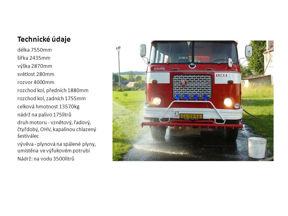 Technické údaje délka 7550mm šířka 2435mm výška 2870mm světlost 280mm rozvor 4000mm rozchod kol, předních 1880mm rozchod kol, zadních 1755mm celková hmotnost 13570kg nádrž na palivo 175litrů druh motoru - vznětový, řadový, čtyřdobý, OHV, kapalinou chlazený šestiválec vývěva - plynová na spálené plyny, umístěna ve výfukovém potrubí Nádrž: na vodu 3500litrů