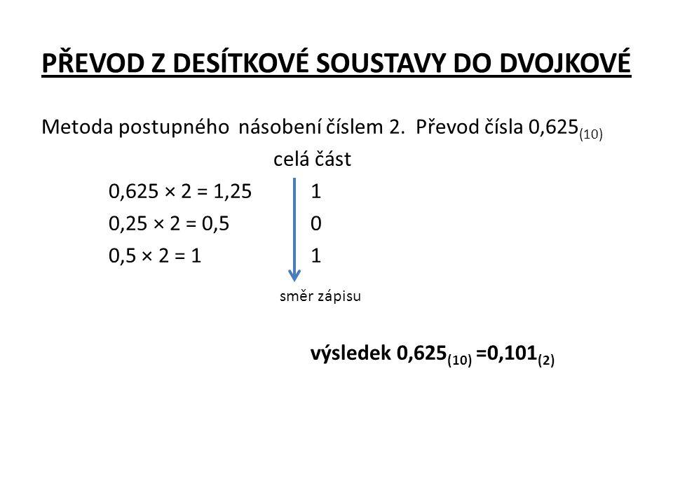 PŘEVOD Z DESÍTKOVÉ SOUSTAVY DO DVOJKOVÉ Metoda postupného násobení číslem 2. Převod čísla 0,625 (10) celá část 0,625 × 2 = 1,251 0,25 × 2 = 0,50 0,5 ×