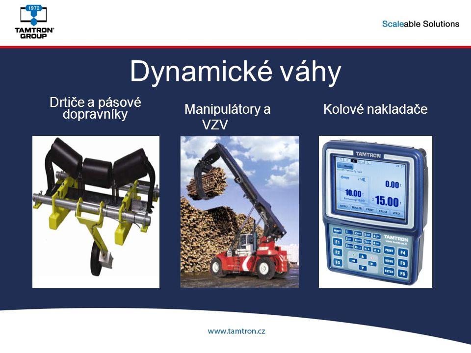 Dynamické váhy Manipulátory a VZV Kolové nakladače Drtiče a pásové dopravníky