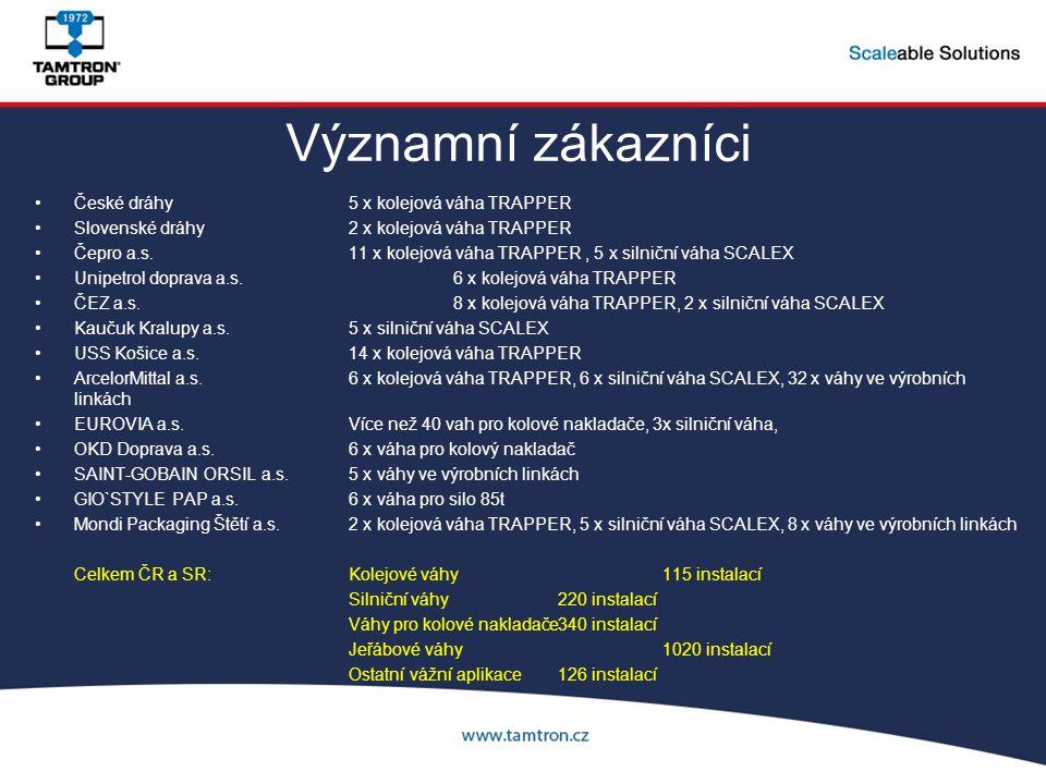 Významní zákazníci České dráhy5 x kolejová váha TRAPPER Slovenské dráhy2 x kolejová váha TRAPPER Čepro a.s.11 x kolejová váha TRAPPER, 5 x silniční vá