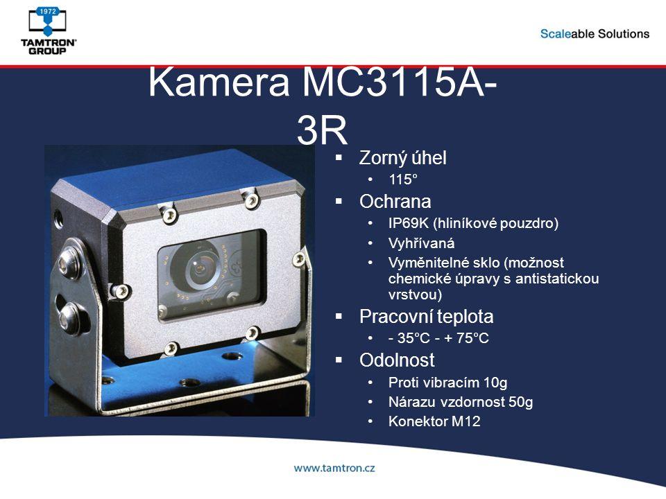 Kamera MC3115A- 3R  Zorný úhel 115°  Ochrana IP69K (hliníkové pouzdro) Vyhřívaná Vyměnitelné sklo (možnost chemické úpravy s antistatickou vrstvou)  Pracovní teplota - 35°C - + 75°C  Odolnost Proti vibracím 10g Nárazu vzdornost 50g Konektor M12
