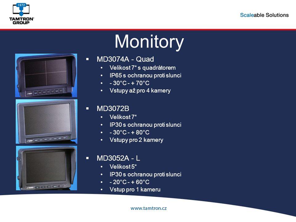 """Monitory  MD3074A - Quad Velikost 7"""" s quadrátorem IP65 s ochranou proti slunci - 30°C - + 70°C Vstupy až pro 4 kamery  MD3072B Velikost 7"""" IP30 s o"""