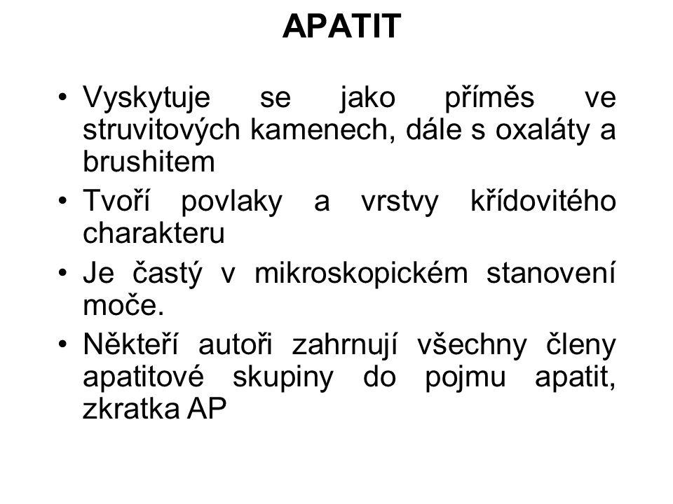 APATIT Vyskytuje se jako příměs ve struvitových kamenech, dále s oxaláty a brushitem Tvoří povlaky a vrstvy křídovitého charakteru Je častý v mikroskopickém stanovení moče.