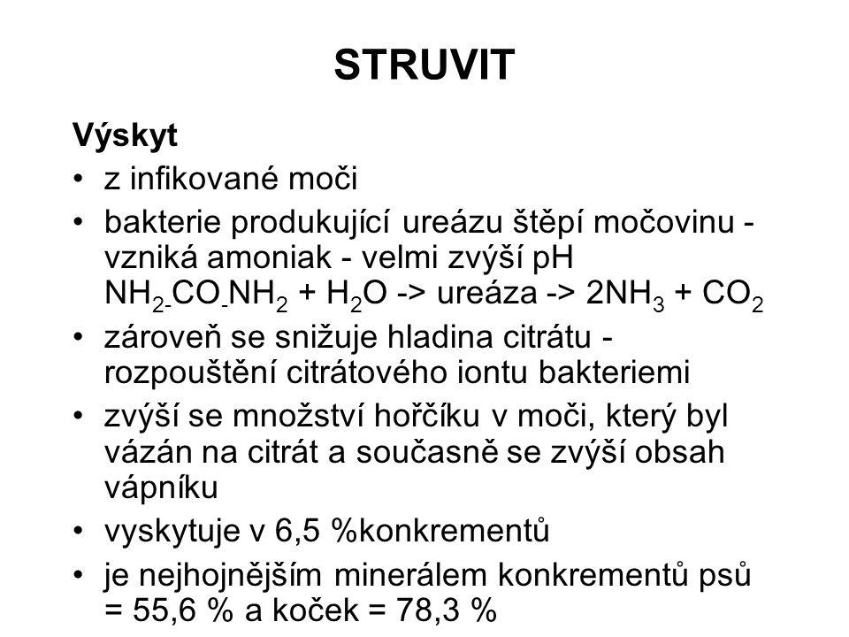STRUVIT Výskyt z infikované moči bakterie produkující ureázu štěpí močovinu - vzniká amoniak - velmi zvýší pH NH 2- CO - NH 2 + H 2 O -> ureáza -> 2NH 3 + CO 2 zároveň se snižuje hladina citrátu - rozpouštění citrátového iontu bakteriemi zvýší se množství hořčíku v moči, který byl vázán na citrát a současně se zvýší obsah vápníku vyskytuje v 6,5 %konkrementů je nejhojnějším minerálem konkrementů psů = 55,6 % a koček = 78,3 %