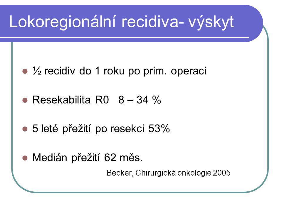 Lokoregionální recidiva- výskyt ½ recidiv do 1 roku po prim. operaci Resekabilita R0 8 – 34 % 5 leté přežití po resekci 53% Medián přežití 62 měs. Bec