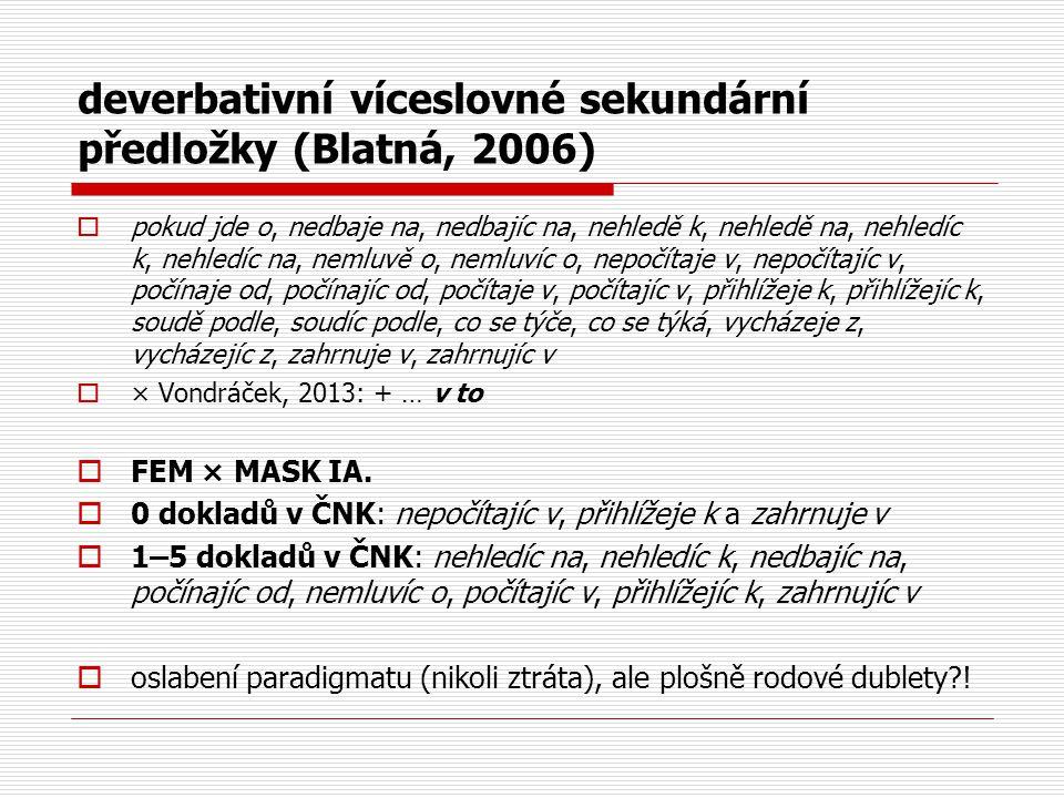 deverbativní víceslovné sekundární předložky (Blatná, 2006)  pokud jde o, nedbaje na, nedbajíc na, nehledě k, nehledě na, nehledíc k, nehledíc na, ne