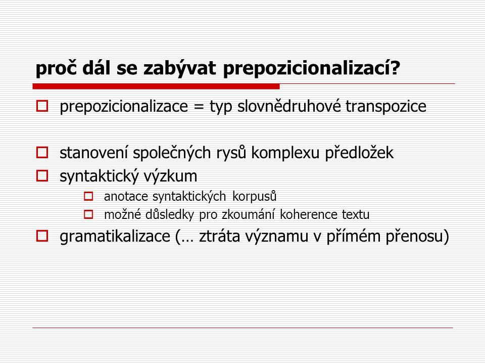 proč dál se zabývat prepozicionalizací?  prepozicionalizace = typ slovnědruhové transpozice  stanovení společných rysů komplexu předložek  syntakti