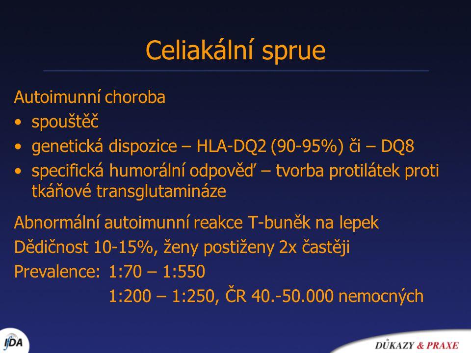 Diagnostická kritéria (ESPGHAN 1990) 1)anamnéza, klinický obraz, hodnoty protilátek i nález střevní biopsie kompatibilní s diagnózou celiakie 2)Bezlepková dieta vede k úpravě klinického obrazu i hladiny protilátek 3)Proband je starší než 2 roky 4)Diferenciální diagnostika vyloučila onemocnění s podobným klinickým obrazem