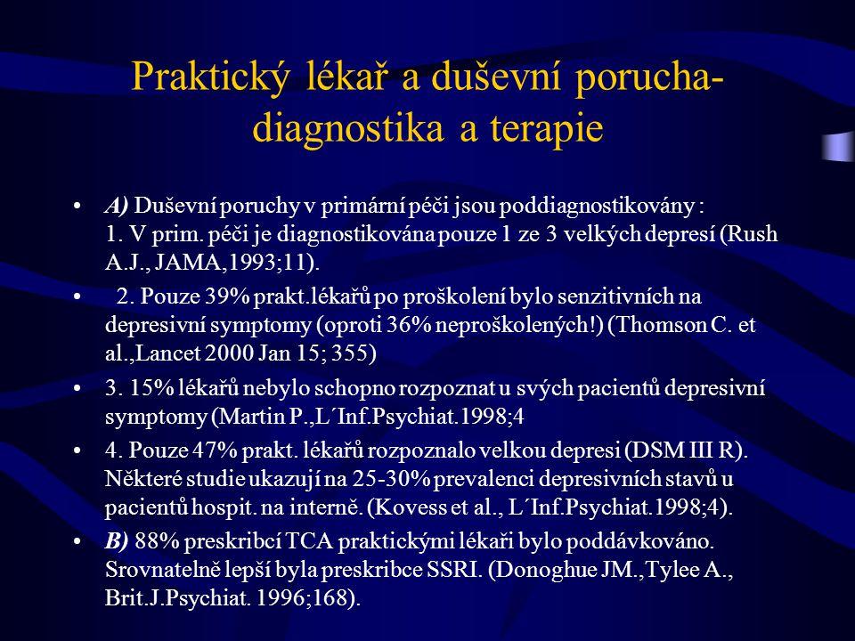 Praktický lékař a duševní porucha- diagnostika a terapie A) Duševní poruchy v primární péči jsou poddiagnostikovány : 1.
