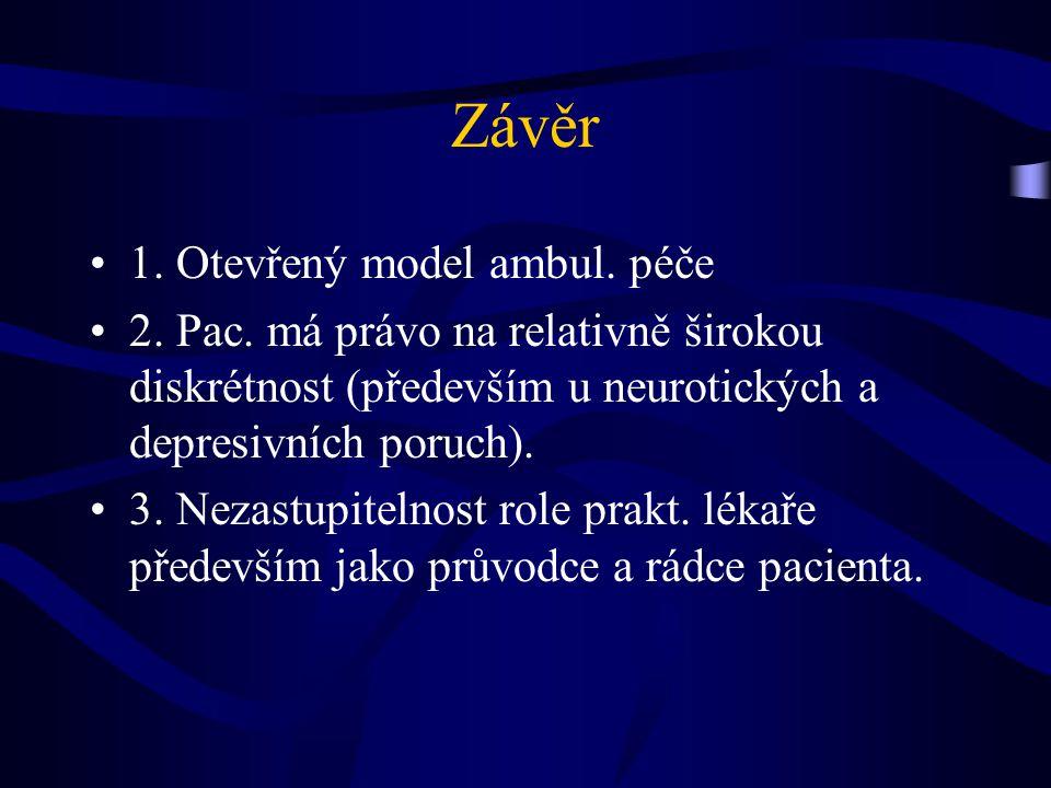 Závěr 1. Otevřený model ambul. péče 2. Pac.