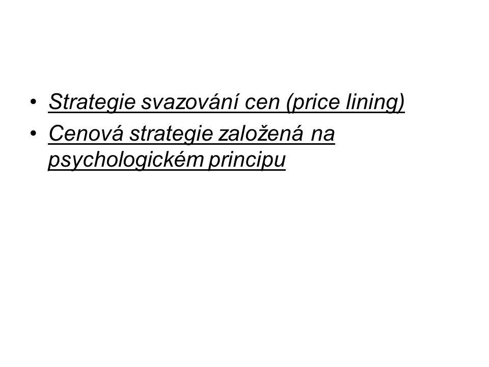 Strategie svazování cen (price lining) Cenová strategie založená na psychologickém principu