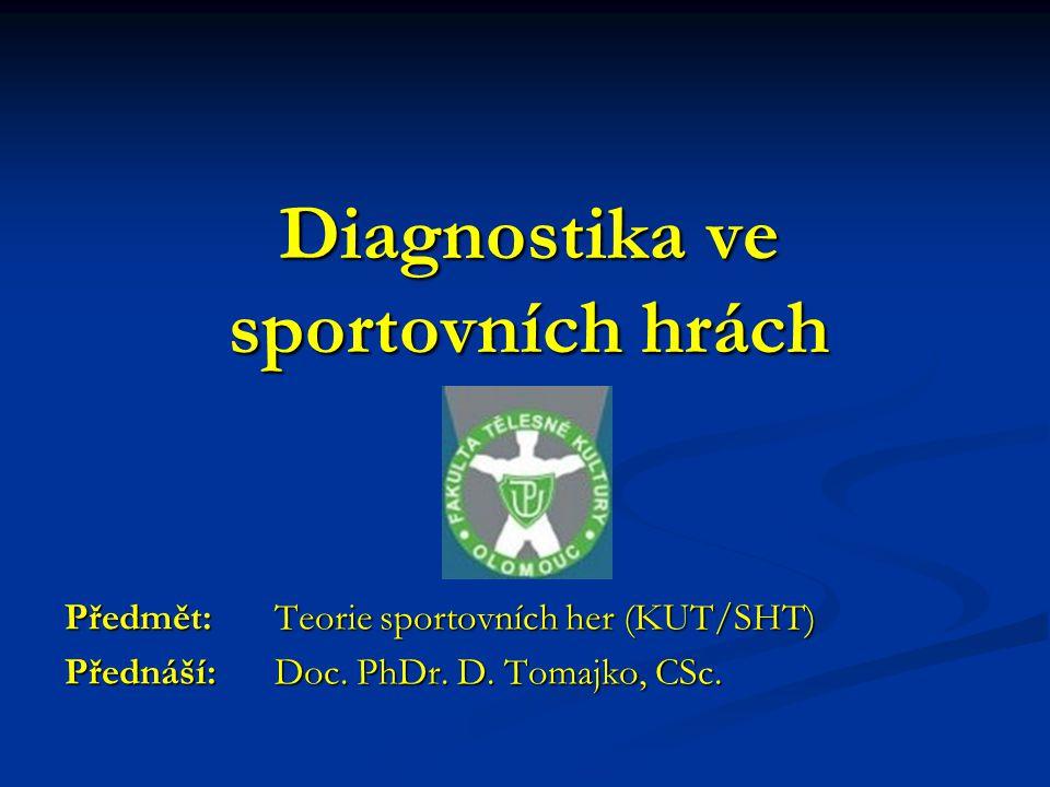 Diagnostika ve sportovních hrách Předmět: Teorie sportovních her (KUT/SHT) Přednáší: Doc. PhDr. D. Tomajko, CSc.