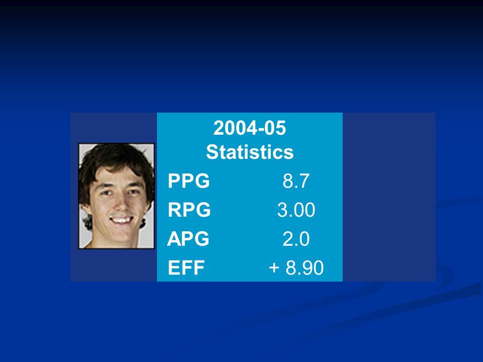 Position: F 2004-05 Statistics PPG8.7 RPG3.00 APG2.0 EFF+ 8.90
