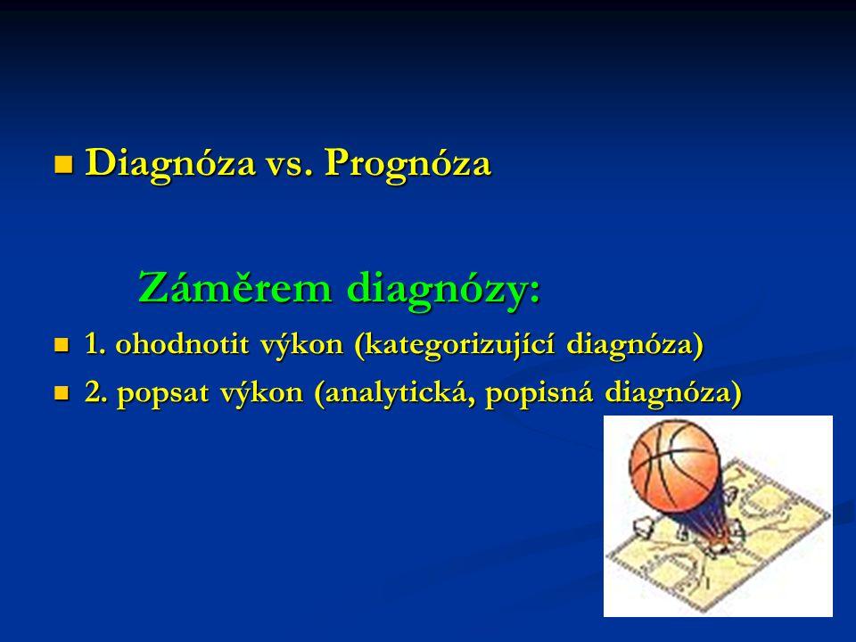 Diagnóza vs. Prognóza Záměrem diagnózy: 1. ohodnotit výkon (kategorizující diagnóza) 2. popsat výkon (analytická, popisná diagnóza)