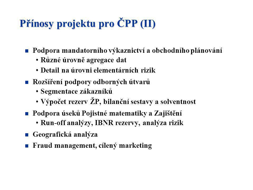 Přínosy projektu pro ČPP (II) n Podpora mandatorního výkaznictví a obchodního plánování Různé úrovně agregace dat Detail na úrovni elementárních rizik