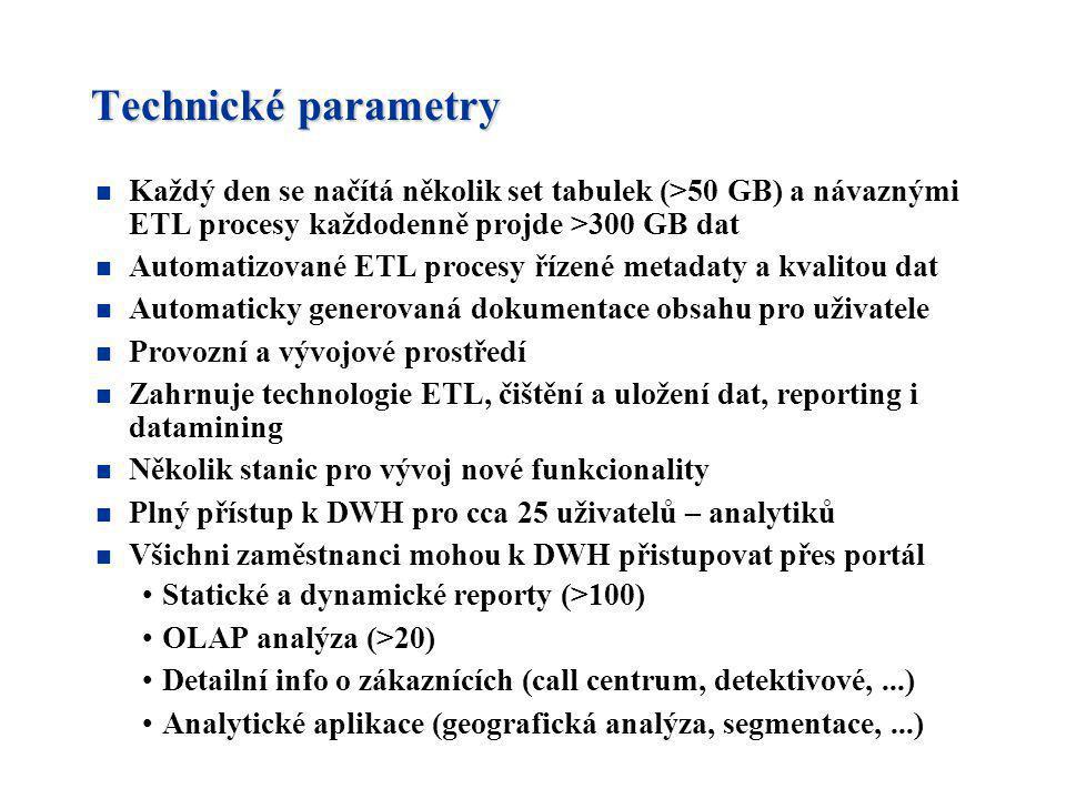 Technické parametry n Každý den se načítá několik set tabulek (>50 GB) a návaznými ETL procesy každodenně projde >300 GB dat n Automatizované ETL proc