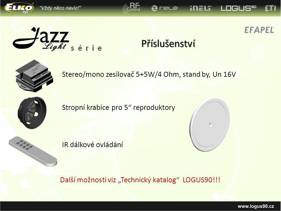 """Příslušenství Stereo/mono zesilovač 5+5W/4 Ohm, stand by, Un 16V Stropní krabice pro 5"""" reproduktory IR dálkové ovládání Další možnosti viz """"Technický"""