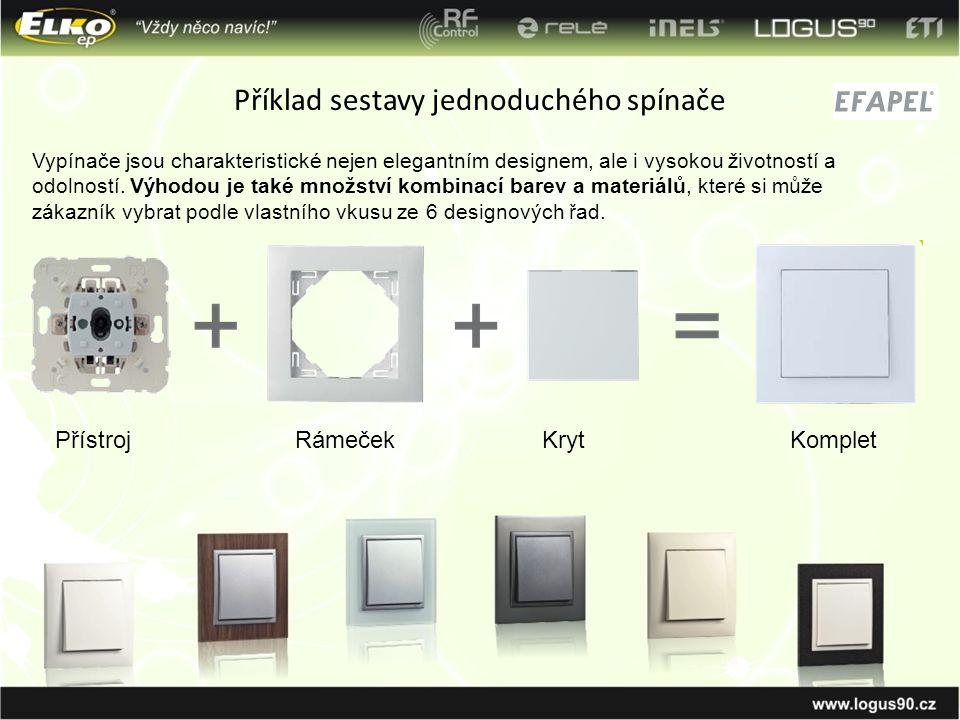 Příklad sestavy jednoduchého spínače PřístrojRámečekKrytKomplet Vypínače jsou charakteristické nejen elegantním designem, ale i vysokou životností a o