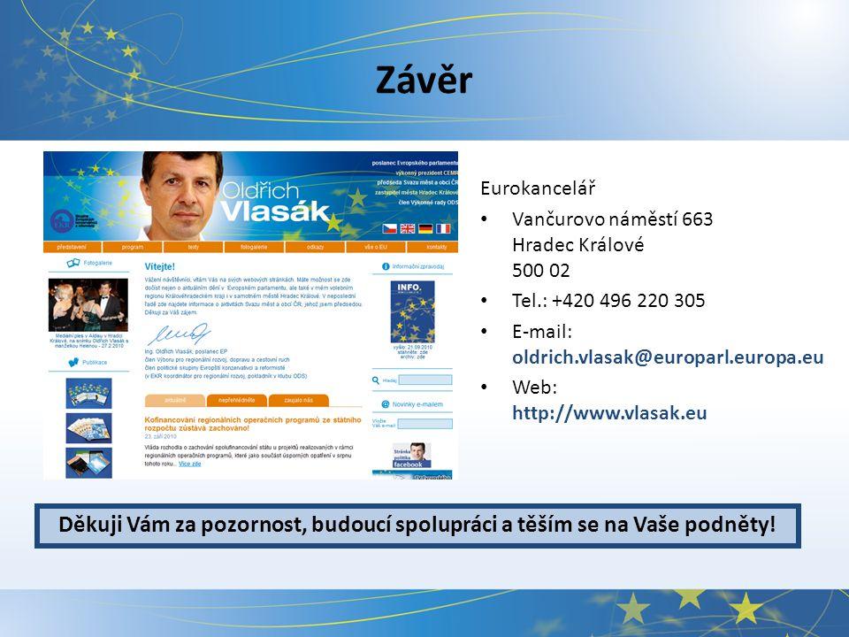 Závěr Eurokancelář Vančurovo náměstí 663 Hradec Králové 500 02 Tel.: +420 496 220 305 E-mail: oldrich.vlasak@europarl.europa.eu Web: http://www.vlasak.eu Děkuji Vám za pozornost, budoucí spolupráci a těším se na Vaše podněty!