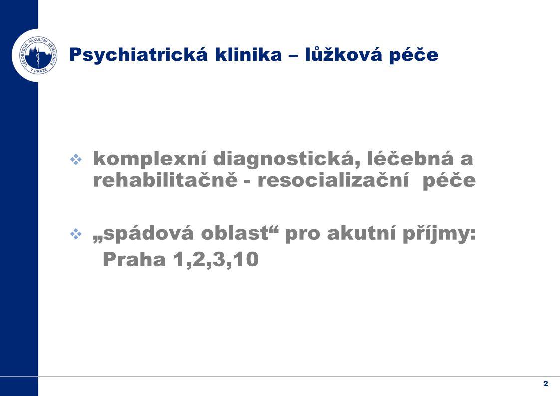 """2  komplexní diagnostická, léčebná a rehabilitačně - resocializační péče  """"spádová oblast pro akutní příjmy: Praha 1,2,3,10 Psychiatrická klinika – lůžková péče"""