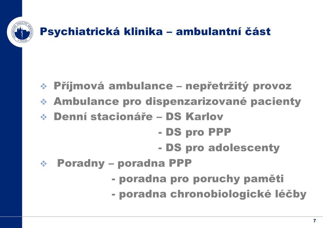 7 Psychiatrická klinika – ambulantní část  Příjmová ambulance – nepřetržitý provoz  Ambulance pro dispenzarizované pacienty  Denní stacionáře – DS Karlov - DS pro PPP - DS pro adolescenty  Poradny – poradna PPP - poradna pro poruchy paměti - poradna chronobiologické léčby