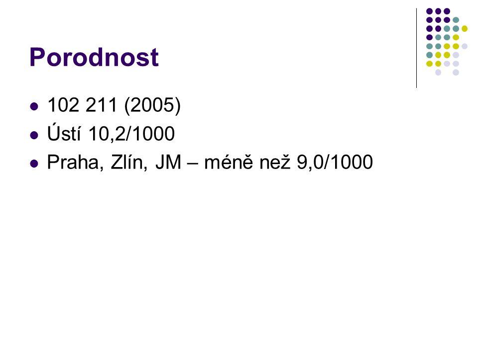 Porodnost 102 211 (2005) Ústí 10,2/1000 Praha, Zlín, JM – méně než 9,0/1000