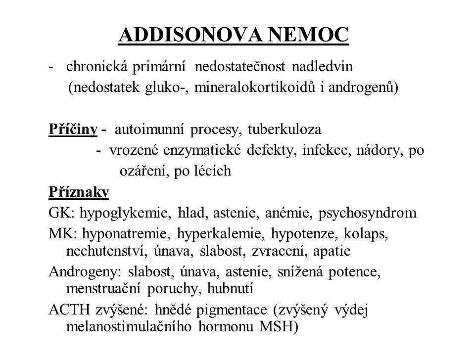 Terapie Addisonovy choroby -celoživotní 1.substituce glukokortikoidů: hydrokortizon (má i mineralokortikoidní účinek) 10-40 mg/den, maximum dávky ráno, méně v poledne, večer možno vysadit 2.substituce mineralokortikoidů: - u přetrvávající hypotenze: Fludrokortizon acetát 0,1 mg/den (nutné kontroly iontů!) 3.substituce androgeny: - pouze těžké formy, vyšší věk (atrofie varlat) Při zátěži (operace, nemoc, psychický stres) zvýšení dávky hydrokortisonu 2-3x, při těžké zátěži až 4-6x.