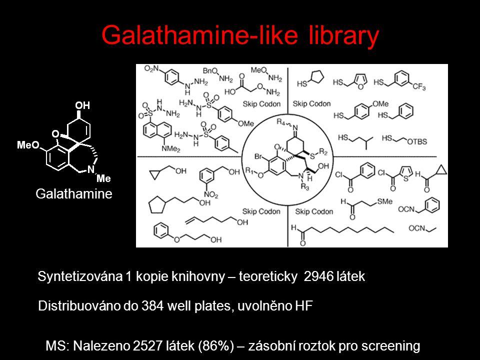 Syntetizována 1 kopie knihovny – teoreticky 2946 látek Distribuováno do 384 well plates, uvolněno HF MS: Nalezeno 2527 látek (86%) – zásobní roztok pro screening Galathamine-like library Galathamine