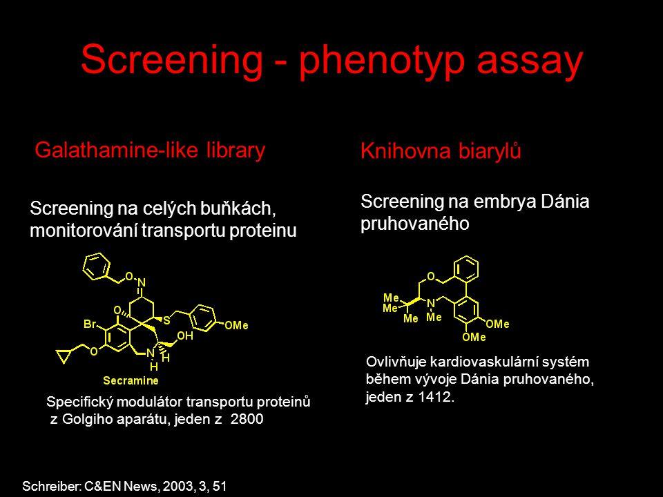 Screening - phenotyp assay Specifický modulátor transportu proteinů z Golgiho aparátu, jeden z 2800 Galathamine-like library Screening na celých buňkách, monitorování transportu proteinu Schreiber: C&EN News, 2003, 3, 51 Ovlivňuje kardiovaskulární systém během vývoje Dánia pruhovaného, jeden z 1412.
