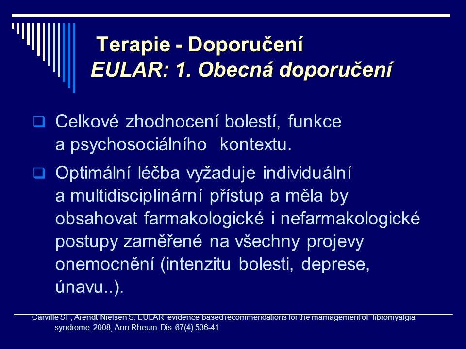 Terapie - Doporučení EULAR: 1. Obecná doporučení Terapie - Doporučení EULAR: 1. Obecná doporučení  Celkové zhodnocení bolestí, funkce a psychosociáln