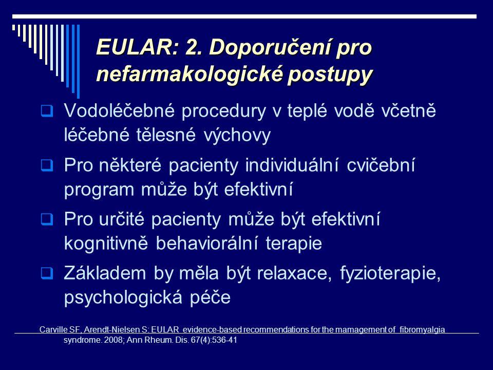 EULAR: 2. Doporučení pro nefarmakologické postupy  Vodoléčebné procedury v teplé vodě včetně léčebné tělesné výchovy  Pro některé pacienty individuá