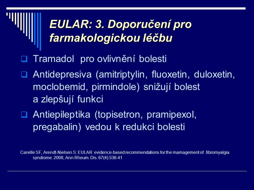 EULAR: 3. Doporučení pro farmakologickou léčbu  Tramadol pro ovlivnění bolesti  Antidepresiva (amitriptylin, fluoxetin, duloxetin, moclobemid, pirmi