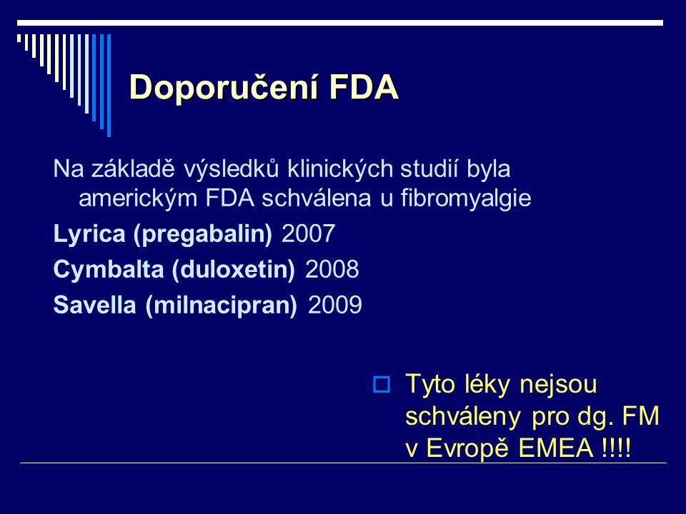 Doporučení FDA Na základě výsledků klinických studií byla americkým FDA schválena u fibromyalgie Lyrica (pregabalin) 2007 Cymbalta (duloxetin) 2008 Sa