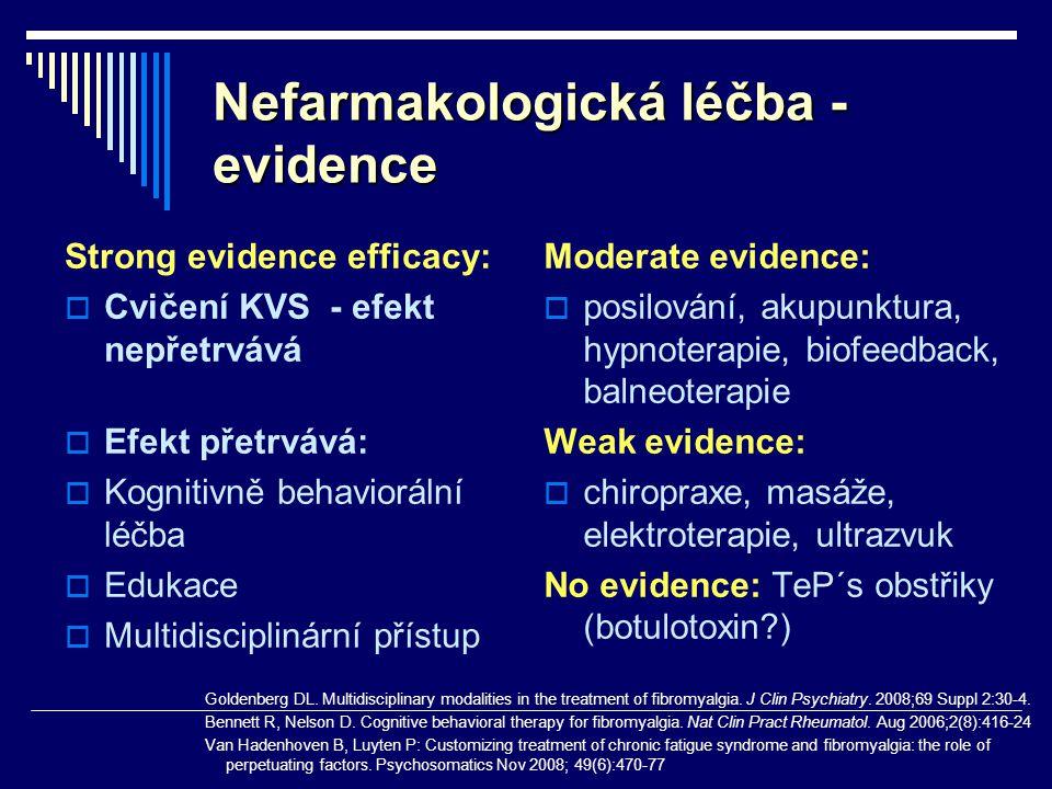 Nefarmakologická léčba - evidence Strong evidence efficacy:  Cvičení KVS - efekt nepřetrvává  Efekt přetrvává:  Kognitivně behaviorální léčba  Edu