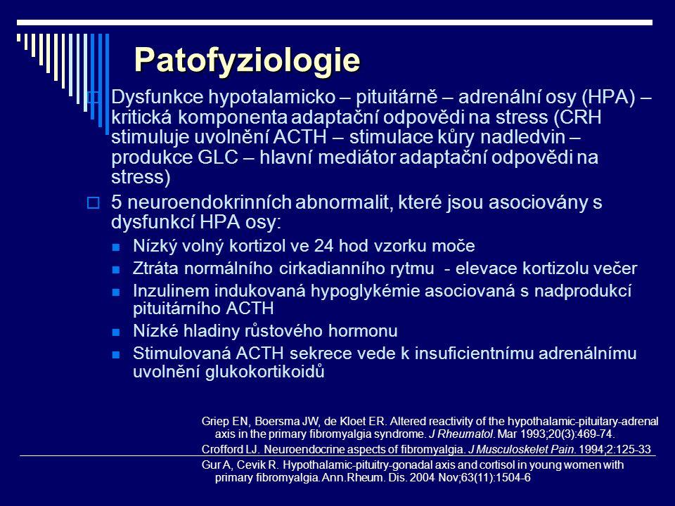 Patofyziologie  Dysfunkce hypotalamicko – pituitárně – adrenální osy (HPA) – kritická komponenta adaptační odpovědi na stress (CRH stimuluje uvolnění