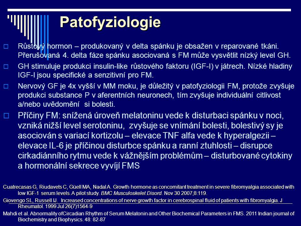 Patofyziologie  Růstový hormon – produkovaný v delta spánku je obsažen v reparované tkáni. Přerušovaná 4. delta fáze spánku asociovaná s FM může vysv