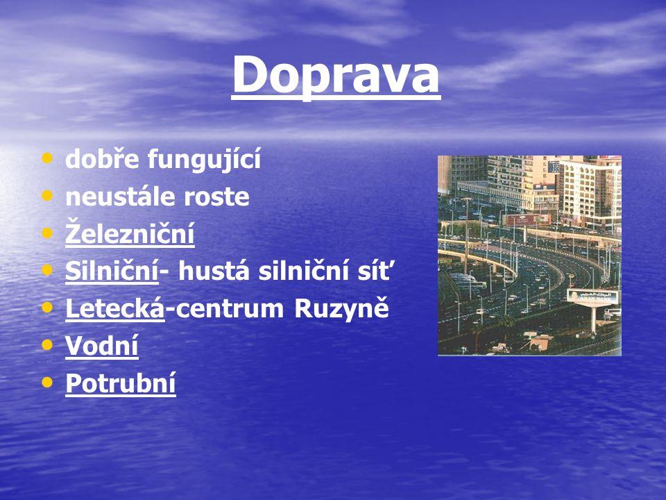 Doprava dobře fungující neustále roste Železniční Silniční- hustá silniční síť Letecká-centrum Ruzyně Vodní Potrubní