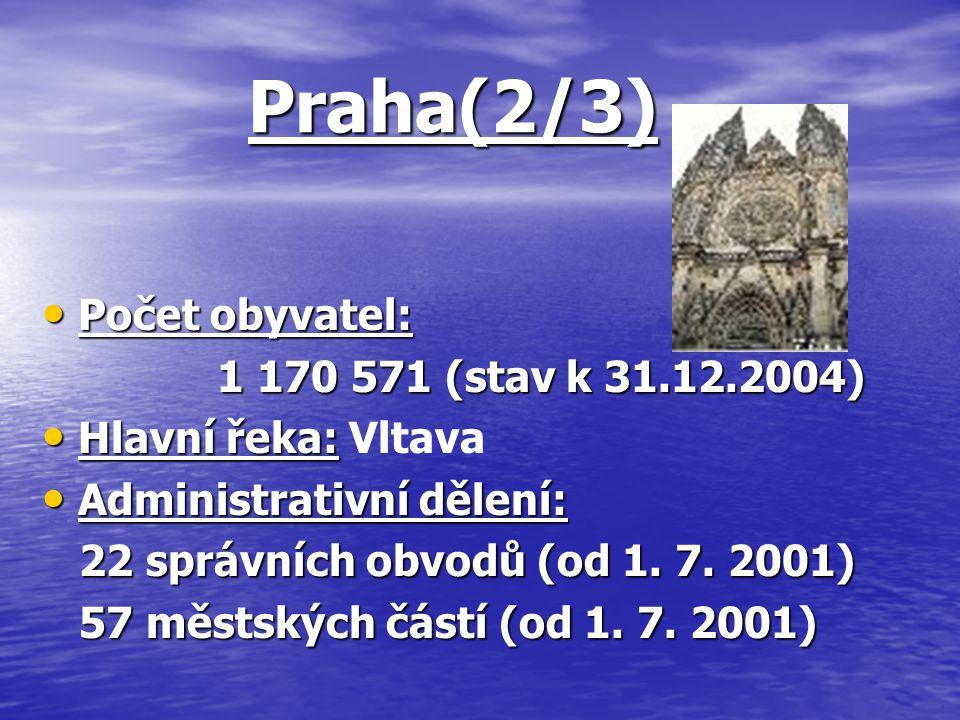 Praha(2/3) Počet obyvatel: Počet obyvatel: 1 170 571 (stav k 31.12.2004) 1 170 571 (stav k 31.12.2004) Hlavní řeka: Hlavní řeka: Vltava Administrativn