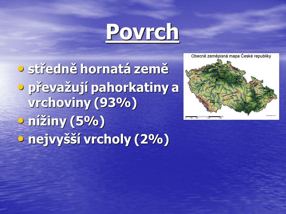 Povrch Povrch středně hornatá země středně hornatá země převažují pahorkatiny a vrchoviny (93%) převažují pahorkatiny a vrchoviny (93%) nížiny (5%) ní