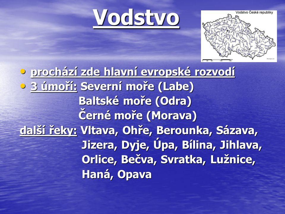Vodstvo Vodstvo prochází zde hlavní evropské rozvodí prochází zde hlavní evropské rozvodí 3 úmoří: Severní moře (Labe) 3 úmoří: Severní moře (Labe) Ba