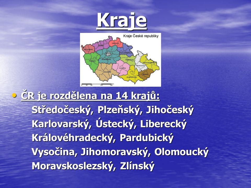 Kraje Kraje ČR je rozdělena na 14 krajů: ČR je rozdělena na 14 krajů: Středočeský, Plzeňský, Jihočeský Středočeský, Plzeňský, Jihočeský Karlovarský, Ú