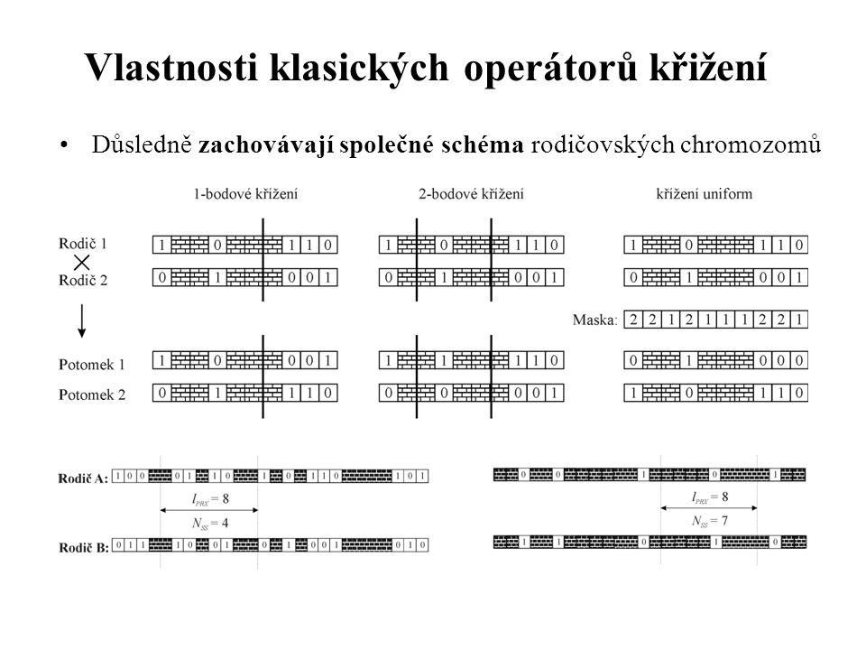 Vlastnosti klasických operátorů křižení Důsledně zachovávají společné schéma rodičovských chromozomů