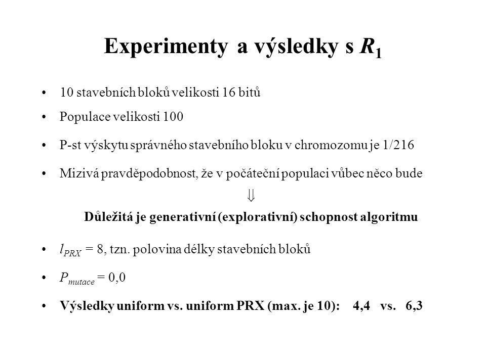 Experimenty a výsledky s R 1 10 stavebních bloků velikosti 16 bitů Populace velikosti 100 P-st výskytu správného stavebního bloku v chromozomu je 1/216 Mizivá pravděpodobnost, že v počáteční populaci vůbec něco bude  Důležitá je generativní (explorativní) schopnost algoritmu l PRX = 8, tzn.