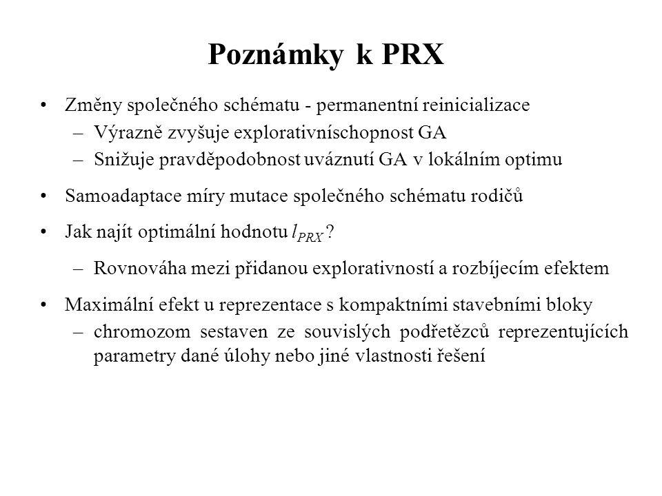 Poznámky k PRX Změny společného schématu - permanentní reinicializace –Výrazně zvyšuje explorativníschopnost GA –Snižuje pravděpodobnost uváznutí GA v lokálním optimu Samoadaptace míry mutace společného schématu rodičů Jak najít optimální hodnotu l PRX .