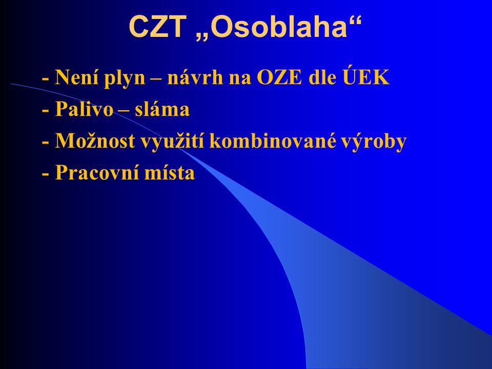 """CZT """"Osoblaha"""" - Není plyn – návrh na OZE dle ÚEK - Palivo – sláma - Možnost využití kombinované výroby - Pracovní místa"""