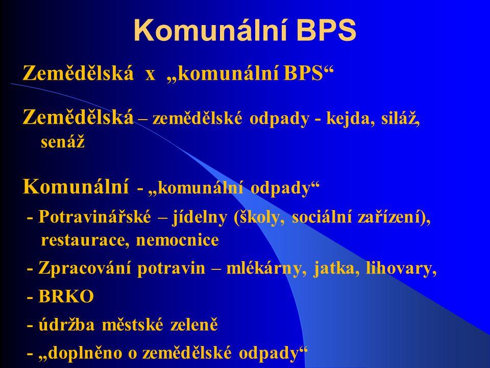 """Komunální BPS Zemědělská x """"komunální BPS"""" Zemědělská – zemědělské odpady - kejda, siláž, senáž Komunální - """"komunální odpady"""" - Potravinářské – jídel"""