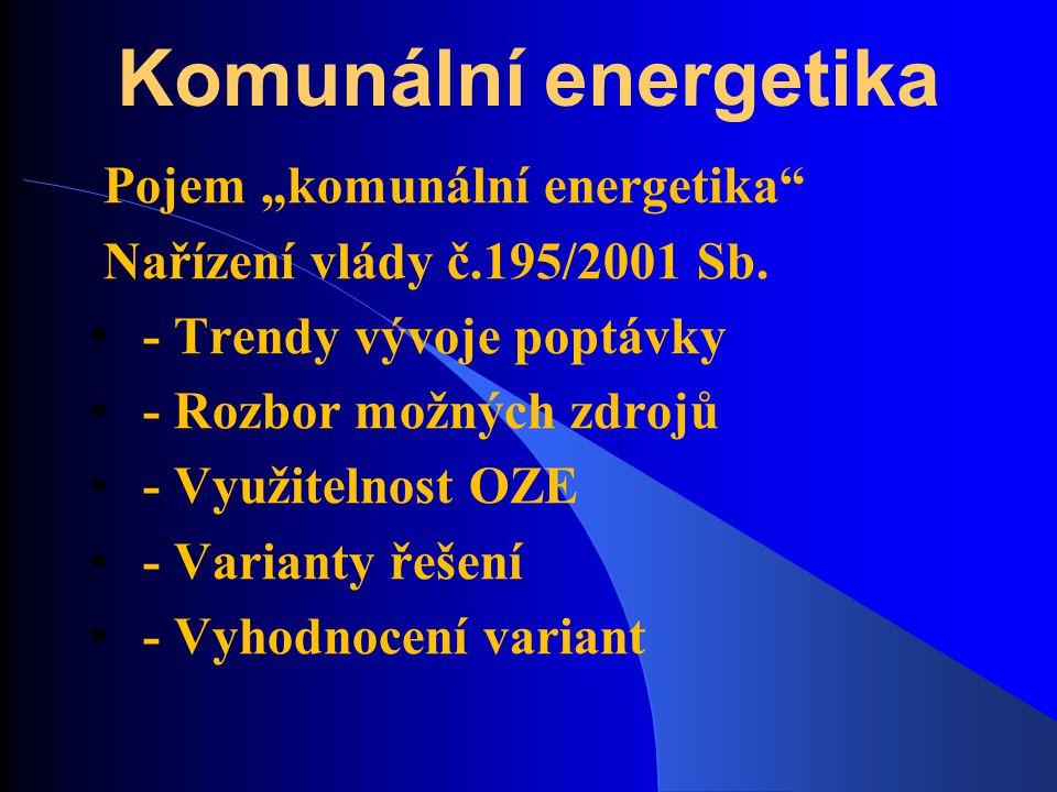 """Komunální energetika Pojem """"komunální energetika"""" Nařízení vlády č.195/2001 Sb. - Trendy vývoje poptávky - Rozbor možných zdrojů - Využitelnost OZE -"""
